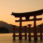 Torii Gate at Dusk, Hiroshima Bay, Miyajima, Honshu, Japan