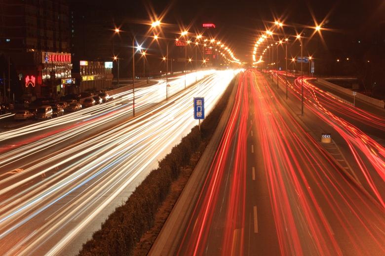 Beijing road night scene