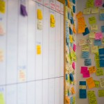 Sticky Notepapers on Wall in Office