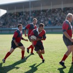 Action during a rugby match