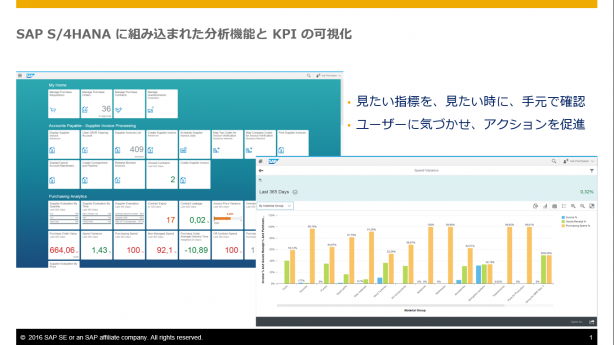 SAP S/4HANAに組み込まれた分析機能とKPI の可視化