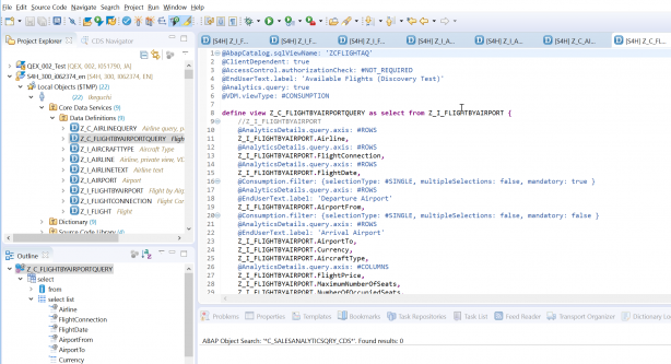 ABAP Development Tools for Eclipse の画面
