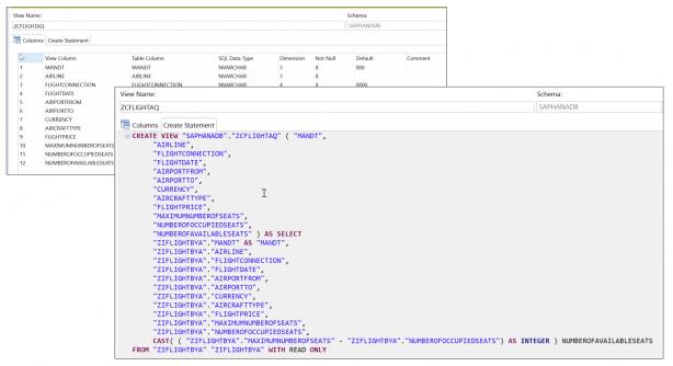 SAP HANA データベース上に作成された SQL View の定義と DDL