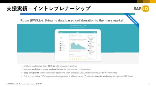 社内ベンチャー制度が生んだスタートアップの1社、Ruum。社員はこの事業専任で独立した(出典:SAP)