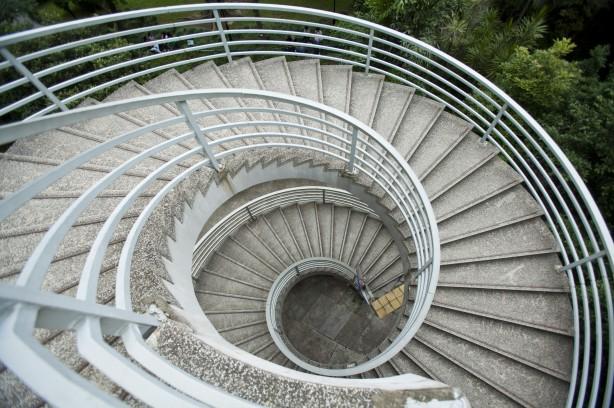 Asia, Hong Kong, Hong Kong Island, City Street, Staircase,