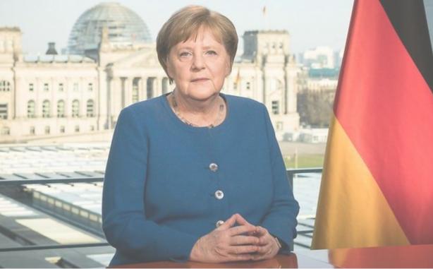 新型コロナ対策で演説するドイツのメルケル首相(出所:ドイツ政府HP)