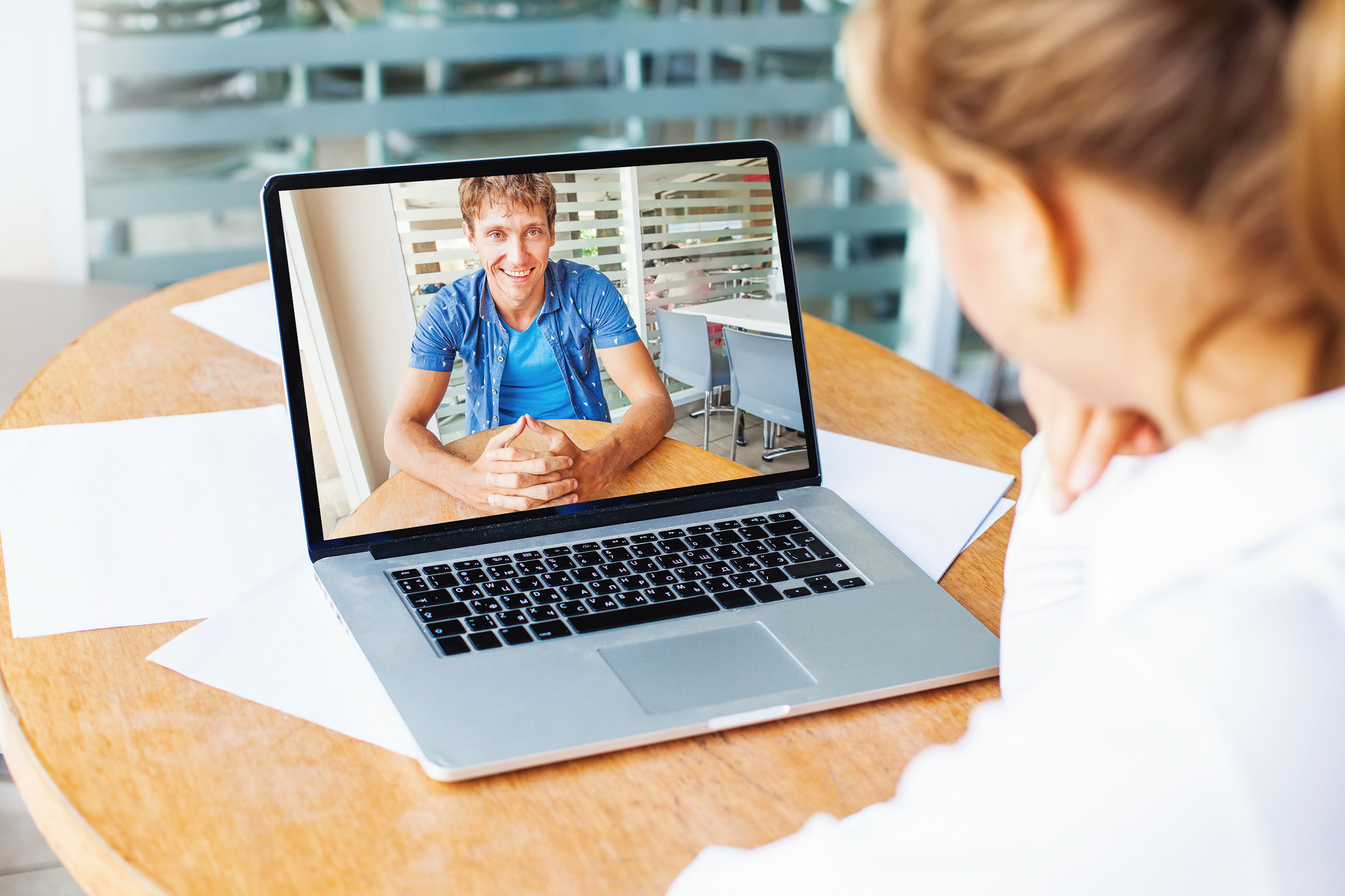 video call. woman and man talking on web camera in office; Shutterstock ID 352947272