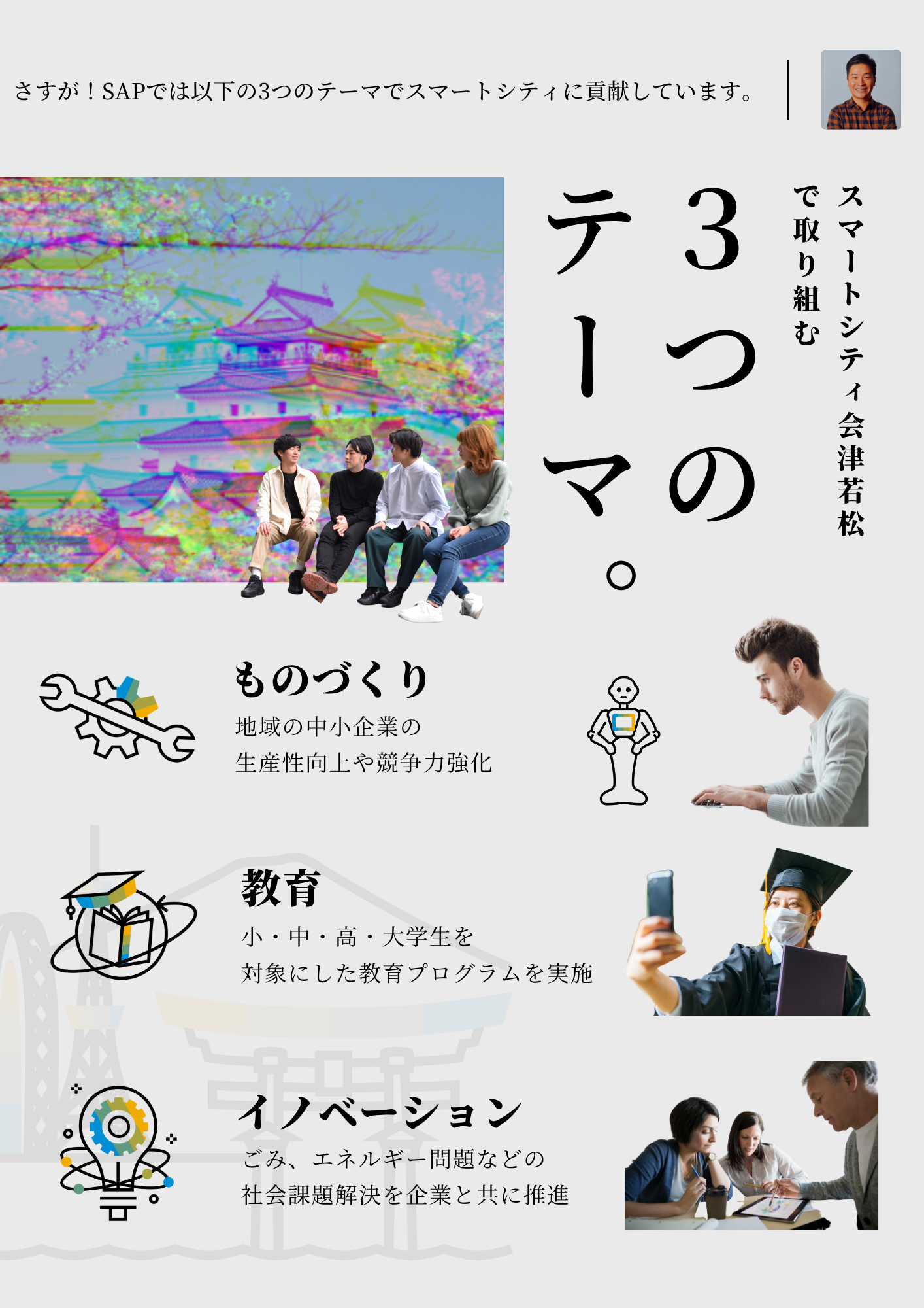 スマートシティ会津若松で取り組む3つのテーマ